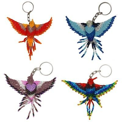 OR112 5 Pack Glass Beads Assorted Artisan Key Chain Ring Guatemala Collection