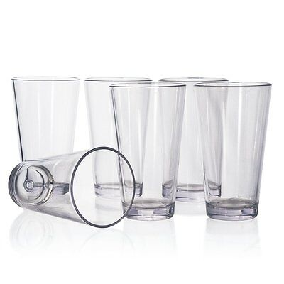 20oz 6pc Plastic Tumbler Set Drinking Glasses Water Cups Kit