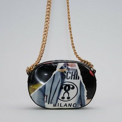 MOSCHINO COUTURE JEREMY SCOTT OVAL COLLAGE LEATHER LOGO CROSSBODY SHOULDER (Multi Logo Collage)