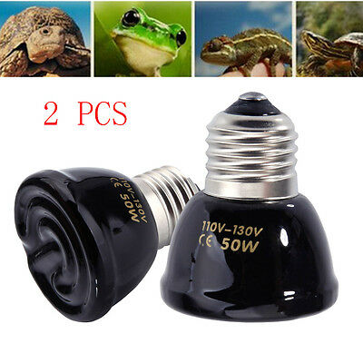 Lot2 50W Reptile Pet Breeding Ceramic Emitter Heat Heater Light Bulb Black 45mm