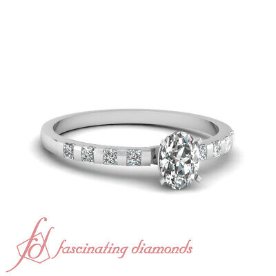 3/4 Ct Oval Shaped Diamond Engagement Ring Bar Set 14K SI1-F Color GIA Certified