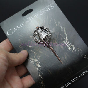 Hot Game of Thrones Hand of The King Silver Plated Pin Brooch With Card Jewelry