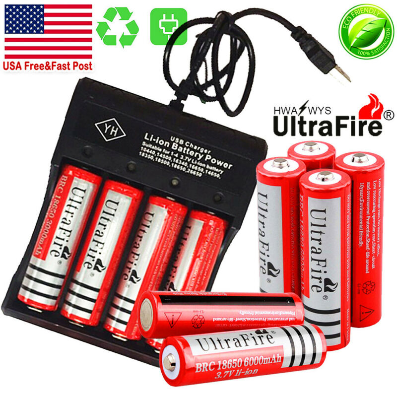 10X UltraFire Powered 18650 Battery 3.7V Li-ion Rechargeable