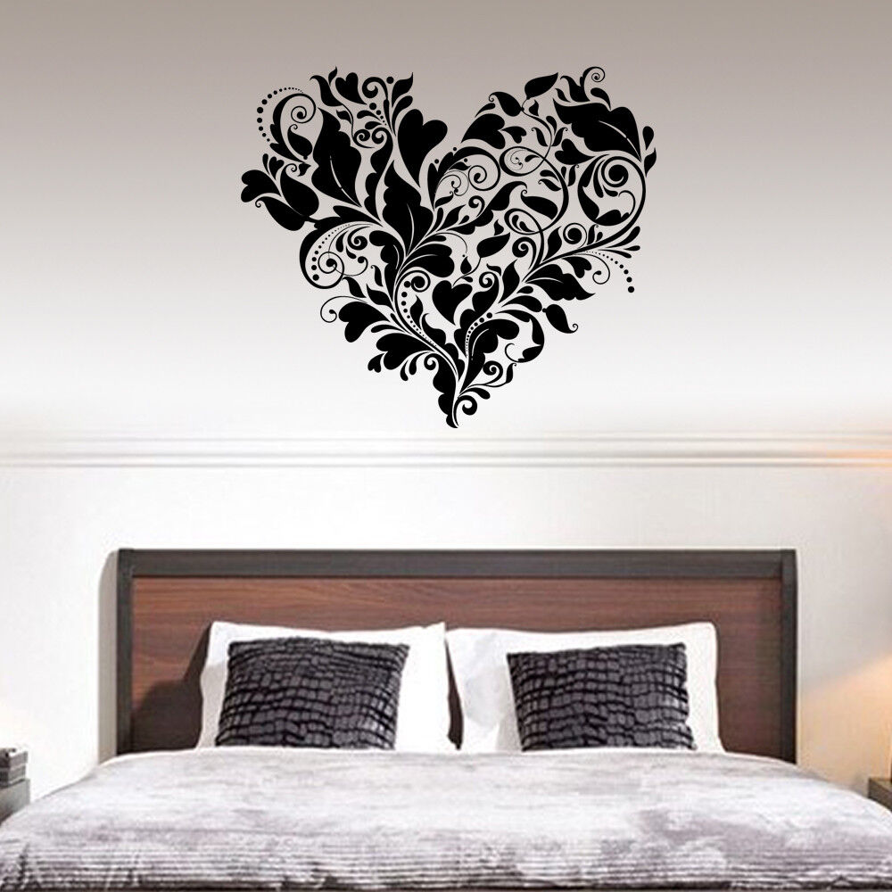 Home Decoration - Ornament Floral Heart Modern Wall Stickers Art Bedroom Removable Decals DIY