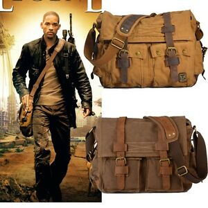 Vintage-Mens-Canvas-Leather-Satchel-School-Military-Shoulder-Bag-Messenger-Bag
