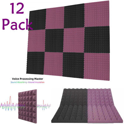 "12 Pack Acoustic Foam Panels Studio Soundproofing 1"" X 12"" X 12"" Pyramid Tiles"