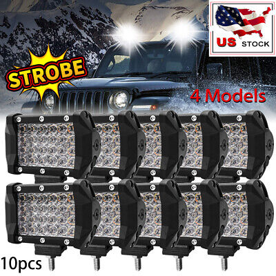 8x 4'' Dual Color High Output White Amber LED POD light Changing Flasher Strobe
