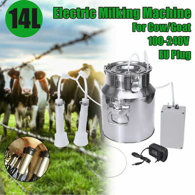 14l Electric Milking Machine Vacuum Impulse Pump Stainless Steel Cowgoat New