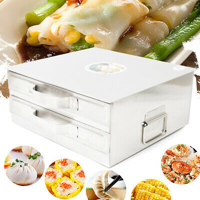 Double-layer Rice Noodle Machine Stainless Steel Roll Steamer Machine W/Drawer