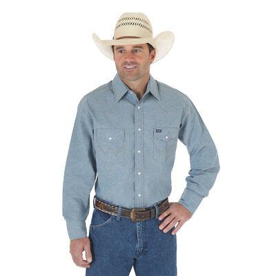 (MS70919 Wrangler Mens Chambray Blue Long Sleeve Twill Solid Shirt NEW)