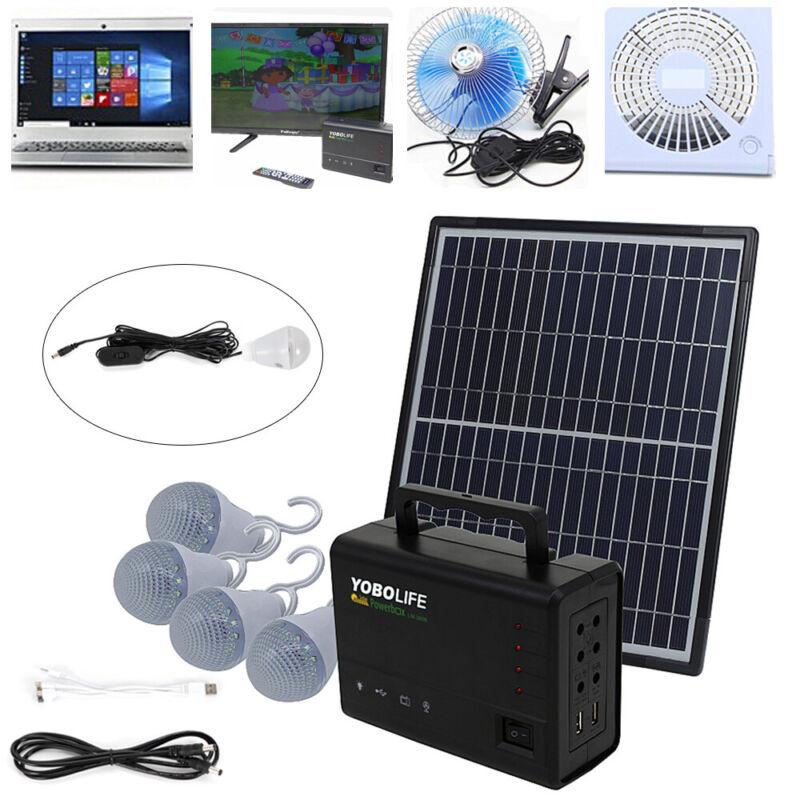 12V 4A Solar Power Generator Lighting Kit w/ Solar Panel+USB Charging Cable USA