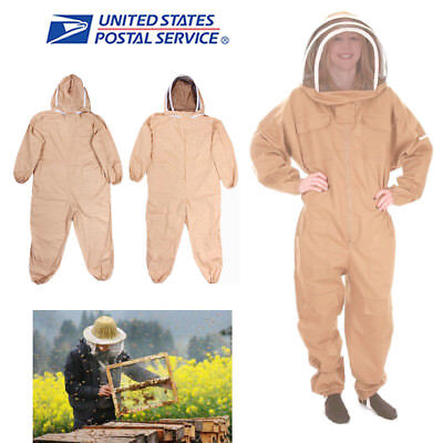 Usa Stock Cotton Full Body Bee Keeping Suit Veil Hood Protective Suit Lxlxxl