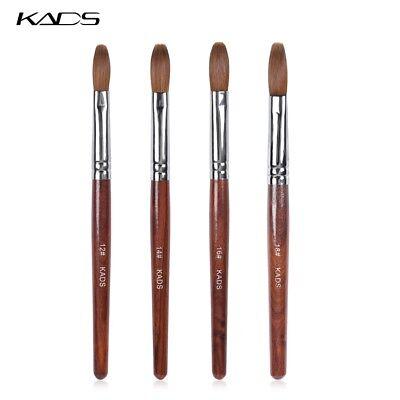 KADS Kolinsky Sable Acrylic Nail Art Brush Crimped Red Wood Handle Manicure Tool