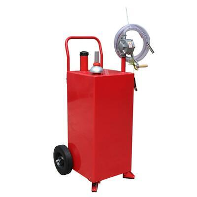 30 Gallon Gas Fuel Diesel Caddy Transfer Tank Container Rotary Pump Wheels
