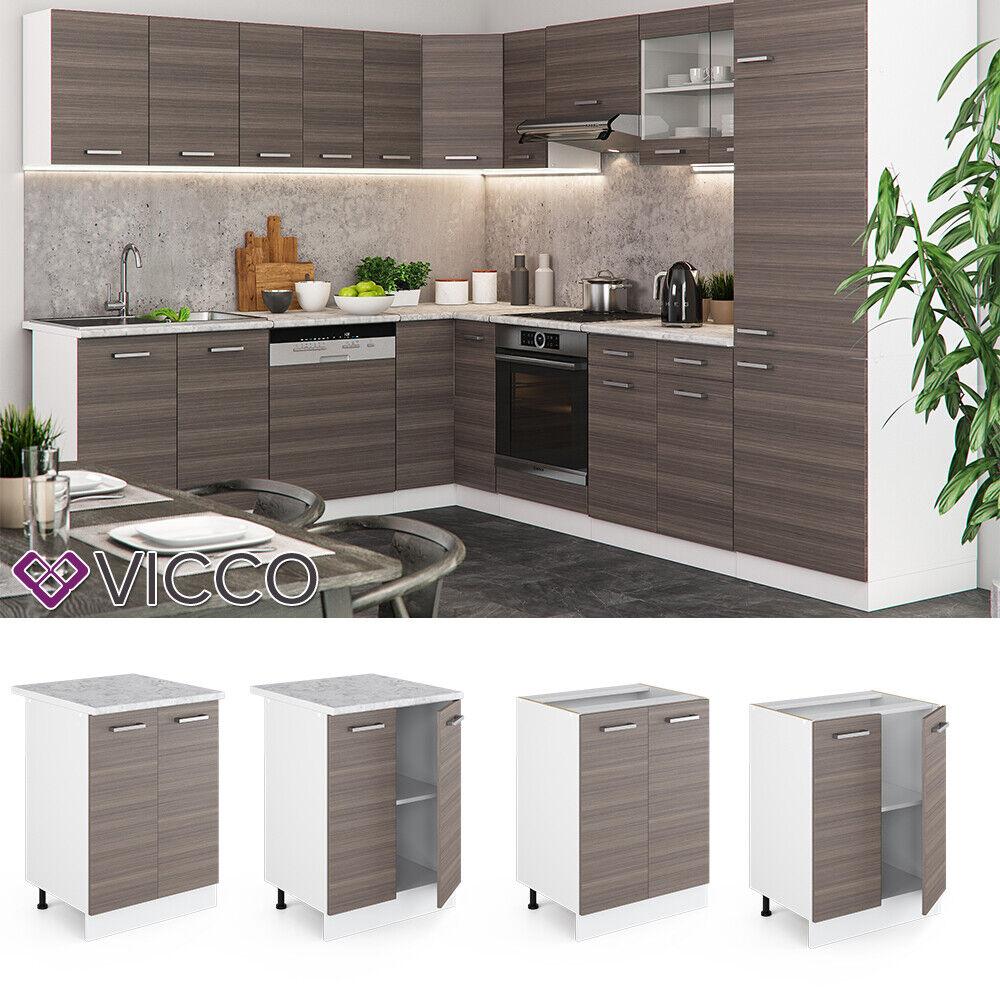 VICCO Küchenschrank Hängeschrank Unterschrank Küchenzeile R-Line Unterschrank 60 cm edelgrau