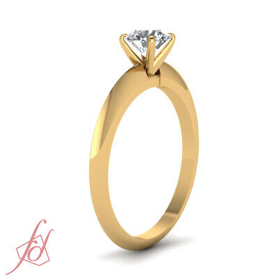 Yellow Gold Knife Edge Solitaire Engagement Ring With 3/4 Carat Round Diamond 2