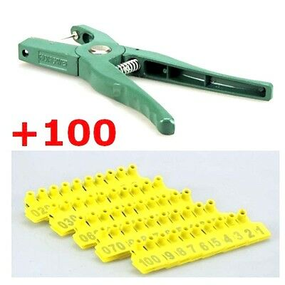 Applicator Puncher Tagger 100 Set Ear Tag Pig Plier Sheep Goat Hog Cattle Cow