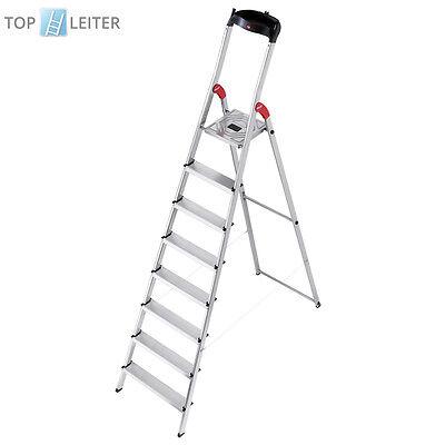Hailo L60 Stehleiter 8 Stufen mit EasyClix Haushaltsleiter Küchenleiter