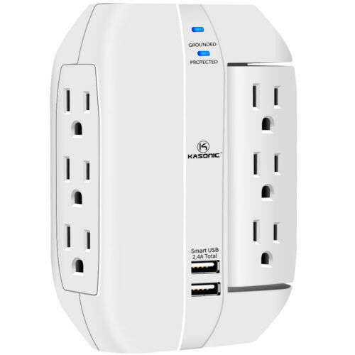Wall Outlet Surge Protector, 6 Grounded Outlets with 2.4A USB  Ports, 1350 Joule