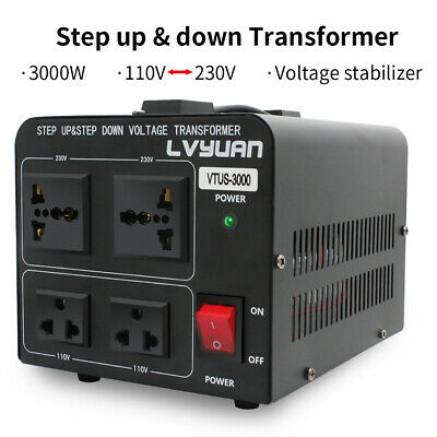 3000W Voltage Converter Transformer Heavy Duty 220V-110V 110V-220V Step Up/Down