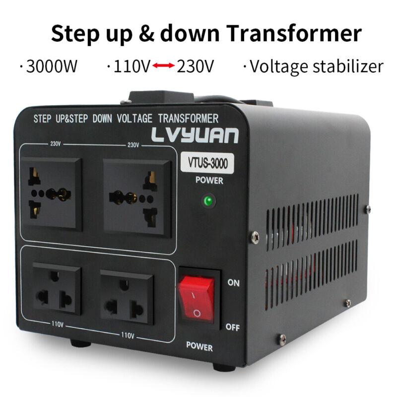 3000W Voltage Converter Transformer Heavy Duty Step Up/Down 110v-220v/220v-110v