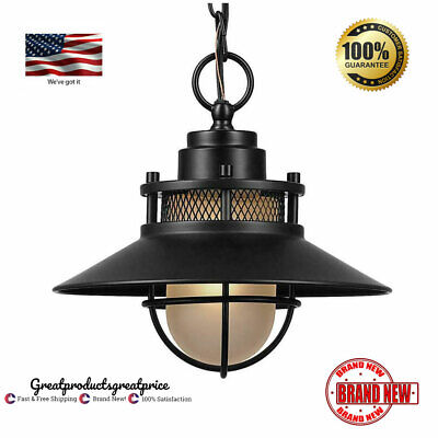 Porch Pendant Light Fixture Antique Industrial Black Outdoor Hanging Glass Metal