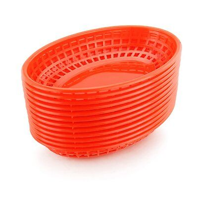 Restaurant Commercial Oval Table or Fast Food Serving Baskets, Red, 12 ct