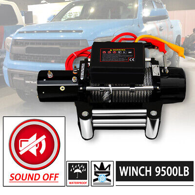 WIN-2X 9500lb 12V Electric SOUND-OFF Waterproof Winch Kit w/ Steel Cable&Remote