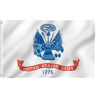 U.S. Army White Emblem Seal Flag 3'x5' Banner Licensed Brass Grommets Free Shipp