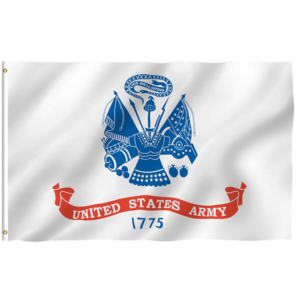 U.S. Army White Emblem Seal Flag 3'x5' Banner Licensed Brass