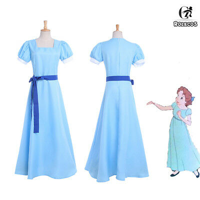 Wendy Costume (Peter Pan Wendy Darling Princess Long Dress Cosplay Costume + Headwear USA)