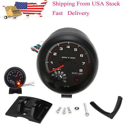 3.75'' Car Universal 12V Tachometer Gauge White Inter Shift Light 0-8000 RPM US