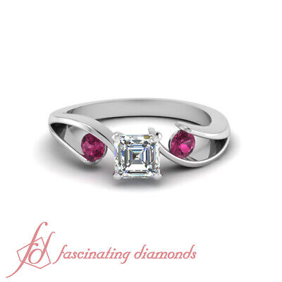 Pink Sapphire And Asscher Cut Diamond Rings In Solid Gold GIA Certified 1.25 Ct