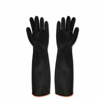 - 1Pair Black Latex Gauntlets 55CM Long Gloves Industrial Anti Chemical Rubber DJ8