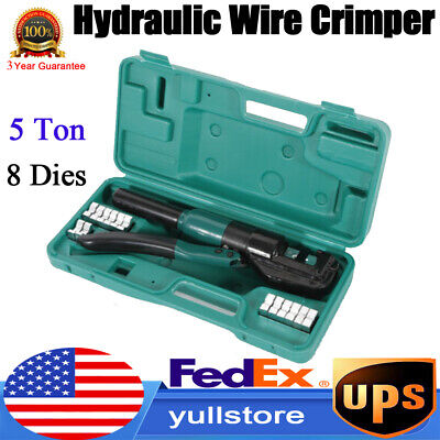 5 Ton Hydraulic Wire Battery Cable Lug Terminal Crimper Crimping Tool W8 Dies