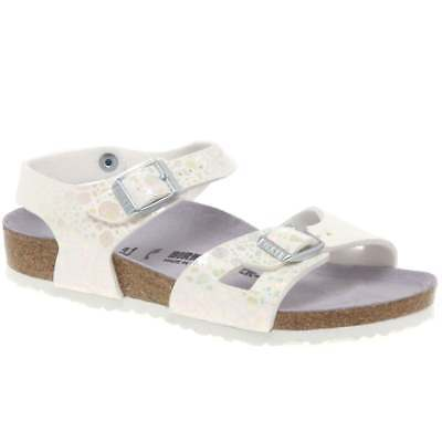 16fa6759c4d Birkenstock Rio Girls White Metallic Pattern Sandals