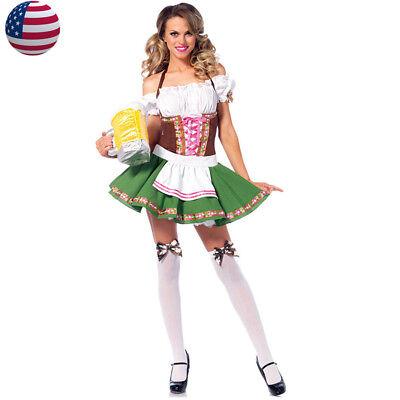 Green Beer Girl Costume Oktoberfest Waitress Cosplay Halloween Fancy Dress
