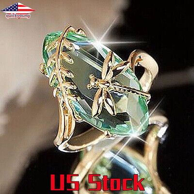 New Womens Noble Gold Pattern Dragonfly Water Olive Crystal Wedding Ring -