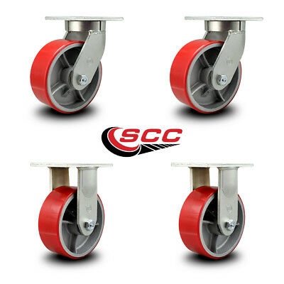 Scc 8 Extra Heavy Duty Red Poly On Metal Caster Set - 2 Swivel2 Rigid-set 4