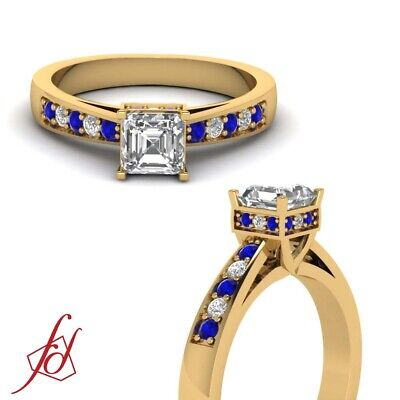 Asscher Cut Diamond & Blue Sapphire Cathedral Engagement Ring Pave Set 1 Ct GIA