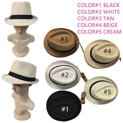 Cuban Hat ( Straw Fedora Hat Trilby Cuban Cap Summer Beach Sun Panama Short Brim Men Women)