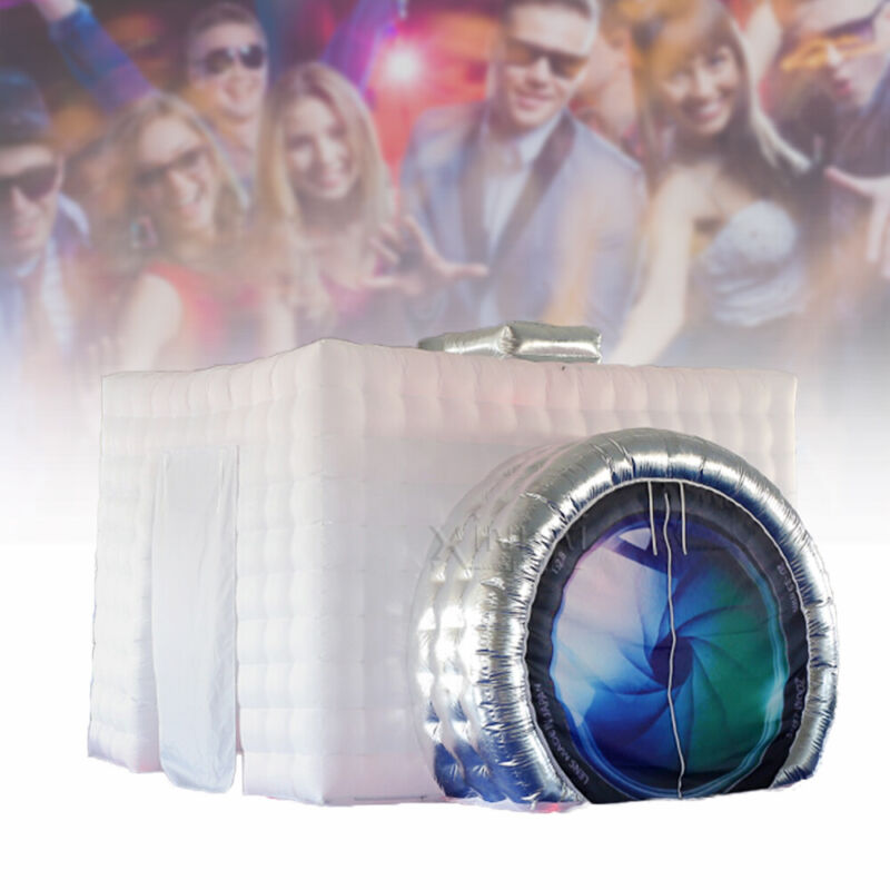 White Inflatable Photo Booth Tent LED Light Strip& Fan For Party/Tourism/Wedding