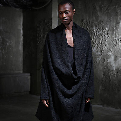 BytheR Avant-garde Black Loose Cowl Drape Neck Gothic Long Sleeves Knit Shirts N