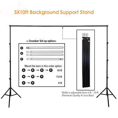 10ft Adjustable Background Support Stand Photography Video Backdrop Kit Black