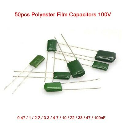 50pcs Polyester Film Capacitors 100v 0.47 1 2.2 3.3 4.7 10 22 3347-100nf