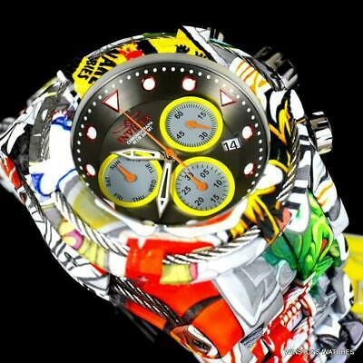 Invicta Bolt Zeus Hydroplated Steel Graffiti Chronograph 52mm Gunmetal Watch New