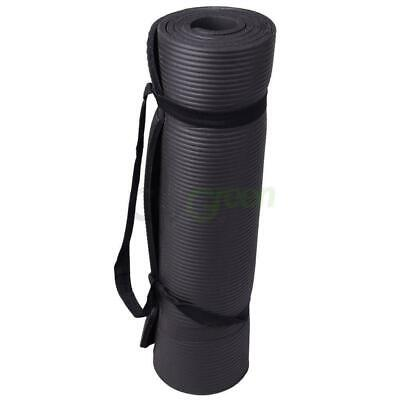 """New 10mm Thick Non-Slip Yoga Mat Pad Exercise Fitness Light Weight 72""""x24"""" Black 3"""