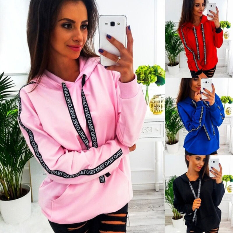 Long Sleeve Women Striped Hooded Pullover Coat Loose Hoodie Jumper Sweatshirt KT