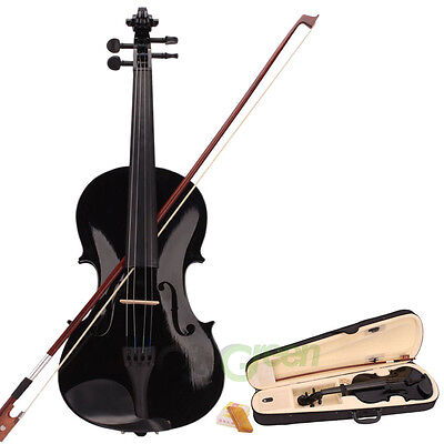 4/4 Full Size Acoustic Violin Fiddle Black with Case Bow Rosin  on Rummage