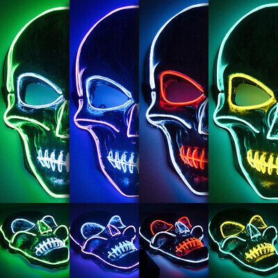 LED Leuchtende Skelett Masken EL Wire Zweifarben Horror Party Cosplay - Halloween Leuchtende Kostüm